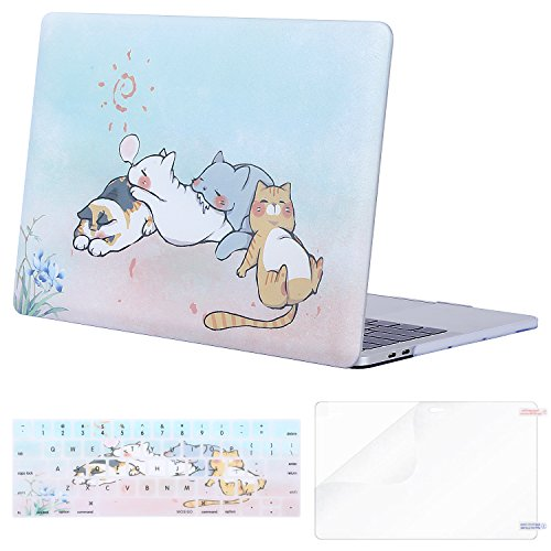 MOSISO MacBook Pro 15 inch Case 2019 2018 2017 2016 Release A1990 A1707, Plastic Pattern Hard Shell & Keyboard Cover & Screen Protector Compatible with MacBook Pro 15 Touch Bar, Cute Cat