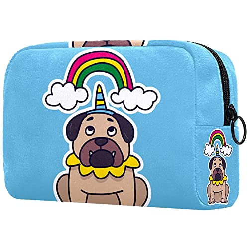 Unicorn Pug - Bolsa de maquillaje para bolso de viaje, neceser de viaje, organizador de cosméticos, portátil, versátil, con cremallera, para mujeres y niñas