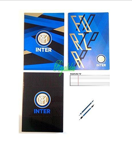 quadernone cuaderno Inter Internacional Fútbol 3piezas Escuela a rayas línea B Escuela Primaria Panini + incluye lápiz