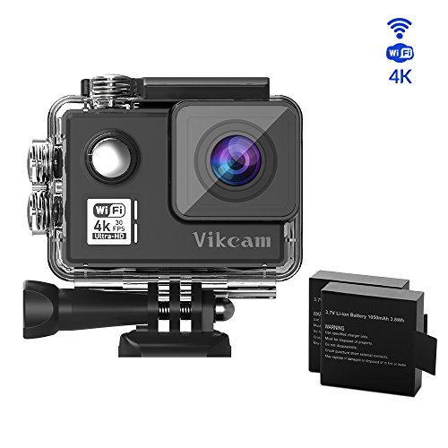 vikcam 4 K Action Camera WiFi HD Action Cam Reali 4 K/30fps unterwasserkamera con 2 Verb esserten Batterie e Accessori