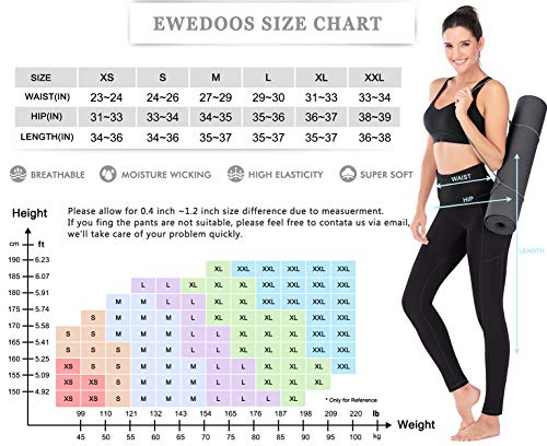 Ewedoos Women's Yoga Pants with Pockets – Leggings with Pockets, High Waist Tummy Control Non See-Through Workout Pants