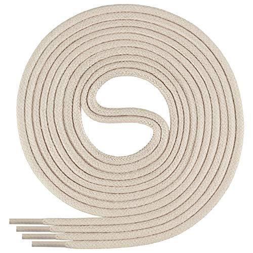 Di Ficchiano-SW-03-light.beige-80 gewachste runde Schnürsenkel, Schuband, Laces, Durchmesser 2-4 mm für Businessschuhe, Anzugschuhe und Lederschuhe