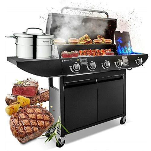 Campfire 4+1 Gas Burner Grill BBQ Barbecue with Side Burner & Storage Garden - Black