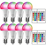 RGB Color Changing Light Bulbs with Remote 40W Equivalent, A19 E26 Base Dimmable LED Colored Light Bulbs for Home Halloween Christmas Party Bar Mood Ambiance Decor, 8-Pack