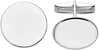 14k White Gold Solid Polished Engravable Circular Cuff Links