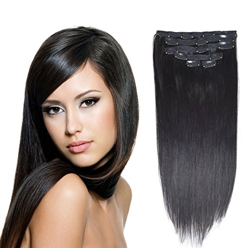 """14""""Remy Human Hair Clip in Extensions for Women Thick to Ends Off Black(#1B) 6Pieces 70grams/2.45oz"""