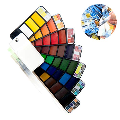 Watercolor Paint Set, 18 Assorted Colors with 1 Water Brushes and Palette, for Artist,Kids & Adults Field Sketch Outdoor Painting Travel Pocket Watercolor Kit
