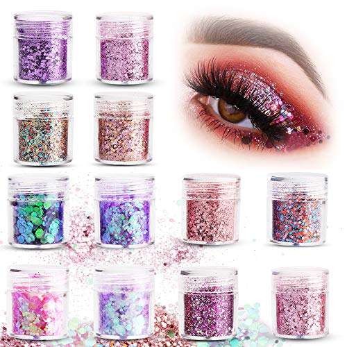 Sporgo Glitzer,12 Boxen*10ML Glitzer Sequin Chunky Glitter Körper Glitzer Für Gesicht Nägel Augen...
