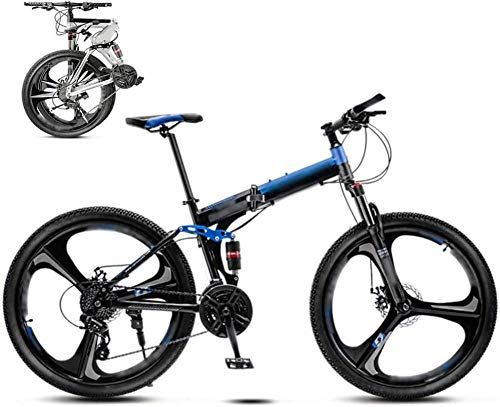 26-inch mountain bike unisex folding commuter bike 30-speed gear foldable mountain bike cross-country variable speed bicycle men and women double disc brakes-AT_21 speed