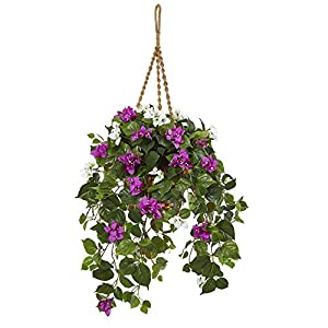 Nearly Natural 30-in. Mixed Bougainvillea Artificial Hanging Basket Silk Plants Purple