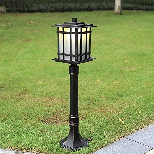 KAUTO 80cm Aluminum Glass Lawn Post Lamp Waterproof Outdoor Illumination Garden Pillar Light European Retro High Pole Street Lantern Villa Exterior Decor Manor Column Lighting E27