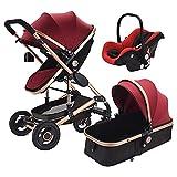 QTWW Cochecito de bebé 3 en 1 Cochecito de Paisaje Alto Cochecito de bebé recién Nacido Cochecitos Plegables Carrito de bebé Cochecito de bebé Cochecito de bebé Acostado (Color: Rojo Vino)