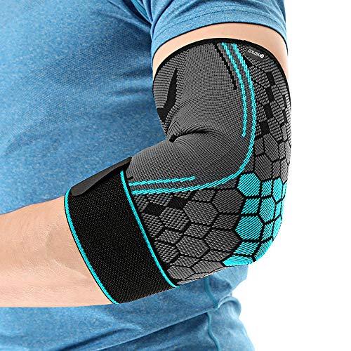 COLOMAX Hochwertige Ellenbogenbandage Ellenbogenstütze Sport Bandage Fitness (Blau, M)