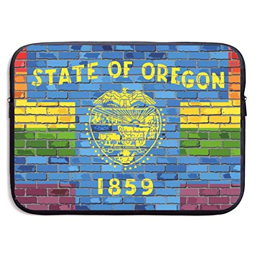 Brick Wall Oregon and Gay Flags Laptop Sleeve Bag Case,Laptop Briefcase Soft Carring Tablet Travel Case,13 inch