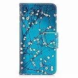 Yiizy Etui Coque Xiaomi Redmi Note 5A Etui, Fleur de Prunier Bleu Design Pochette Coque Housse Cuir...