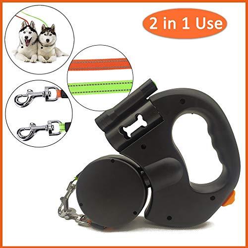Doppelte Einziehbare Hundeleine,4 in Einem 360 ° Drehbar Ausziehbare Roll-Leine 3M Mit LED Licht + Anti-Rutsch-Griff Einhandbremse + Hundekotbeutel,Sperre für 2 Hunde bis zu 50 Pfund pro Stück
