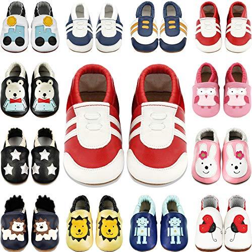 BAOLESEM Baby Lauflernschuhe Jungen Krabbelschuhe Mädchen Weicher Leder Kleinkind Babyhausschuhe Rutschfesten Wildledersohlen, Weiß Rot Sneaker, 12-18 Monate