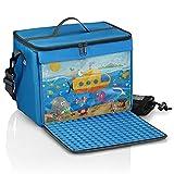 fantifant Bolsa para bloques de construcción con placa de construcción plegable, color azul marino, tamaño XL, compatible con grandes bloques de construcción como Lego Duplo | incluye bolsa de red