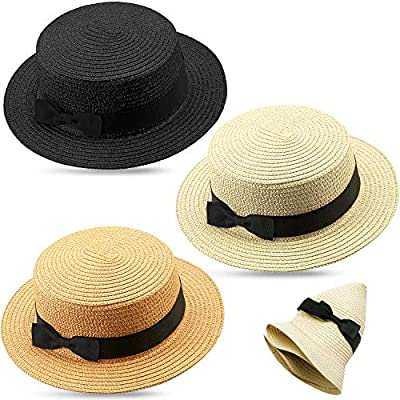 3 Pieces Women Straw Boater Hat Summer Mini Bow...