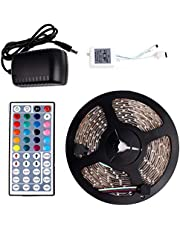5 M SMD 3528 RGB 300 LED Strip light Waterproof Color Changing+44 Keys IR Remote Control+ Power Supply