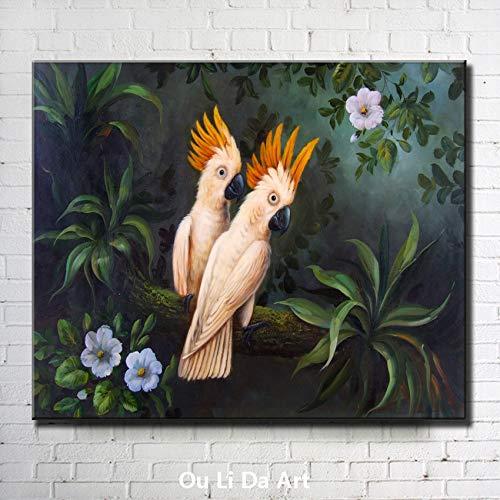 tzxdbh HD Print Poster Retro Moderno Abstracto Mural Loro Blanco Flor Paisaje Pintura al óleo para Sala de Estar Imprimir Imagen Arte de la Pared Imagen 40x80cm sin Marco