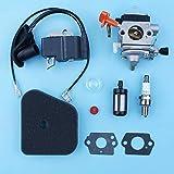 Kit de junta de filtro de combustible de aire de bobina de encendido de carburador compatible con Stihl FS110R KM110R FS110 FS90 FS90R FS100R FC90 desbrozadora