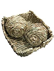 Peter's Woven Grass Pet Bed and Toys (Woven Grass Bed with 2 Play Balls)