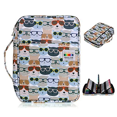 BTSKY Colored Pencil Case 220 Slots Pen Pencil Bag Organizer with Handy Wrap Portable- Multilayer Holder for Prismacolor Crayola Colored Pencils & Gel Pen Glasses