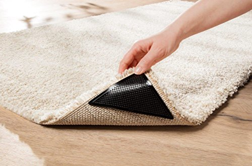 WohnDirect Teppich Anti Rutsch Unterlage Set - 4 Ecken - Plus 4 zusätzlichen Fixierungen - ideale Teppichunterlage Antirutsch für alle 4 Ecken - Größe ca. 11x11x15 cm – Schwarz