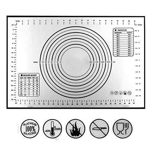 Silicone Pastry Mat Non Slip with Measurement Fondant Mat, Counter Mat, Dough Rolling Mat, Oven Liner, Pie Crust Mat-Black (16''(W)24''(L))