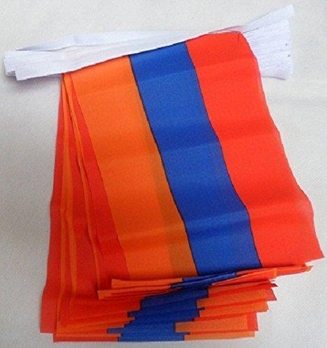 AZ FLAG FAHNENKETTE ARMENIEN 6 Meter mit 20 flaggen 21x14cm - ARMENISCHE Girlande Flaggenkette 14 x 21 cm