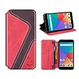 MOBESV Smiley Xiaomi Mi A1 Hülle Leder, Xiaomi Mi A1 Tasche Lederhülle/Wallet Hülle/Ledertasche Handyhülle/Schutzhülle mit Kartenfach für Xiaomi Mi A1, Rot/Dunkel Violett