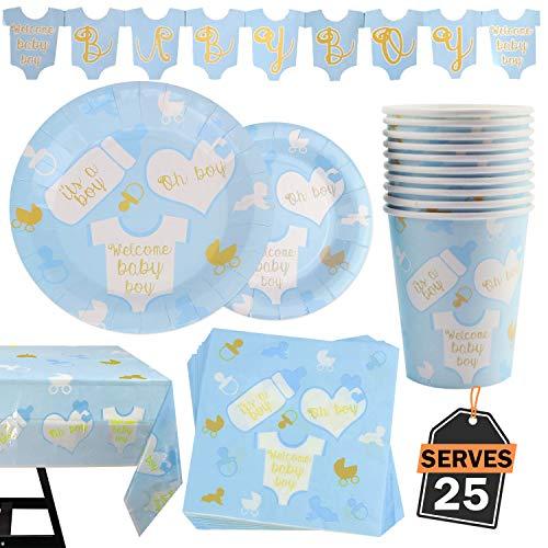 102 piezas para Baby Shower de Niño Bebé Decoración de Fiesta Set para Celebración Platos, Vasos, Servilletas, Mantel y Pancarta, 25 Personas