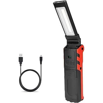 ENUOTEK Lampada Torcia da Lavoro a LED Ricaricabile Potente Lampada Ispezione Portabile 3W COB e 3W LED Batterie al Litio Ricaricabili 2200mAh Due Ganci e Magneti Potenti