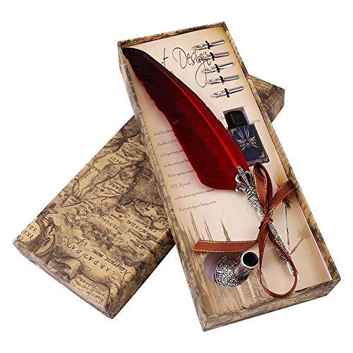 Schreibfeder Federkiel Quill Pen Set Kalligraphie Vintage Feather Kugelschreiber mit Tintenfass für Executive Dekoration Student Geschenk Rot