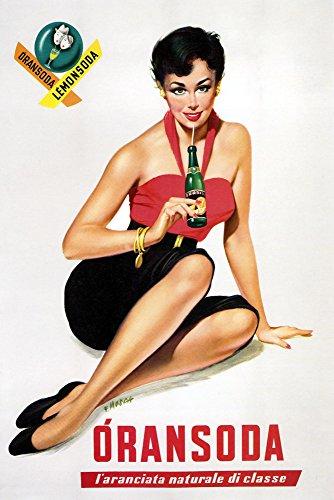 "Fashion Lady Girl Orange Lemon Soda Italy Italia Italian Bar Restaurant Drink Vintage Poster Repro (12"" X 16"" Image Matte Paper)"