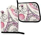 MODORSAN Romántico Paris Eiffel Tower Bycicle - Juego de 2 Manoplas y Porta ollas para Horno de Cocina, poliéster Resistente, Guantes Impermeables para Horno, Manoplas de Cocina para cocinar, Hornear