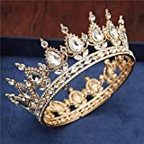 Vintage Queen King Tiaras y Coronas Hombres Mujeres Desfile de Baile Diadema Adornos para el Cabello Accesorios de joyería para el Cabello de Boda, Oro Blanco