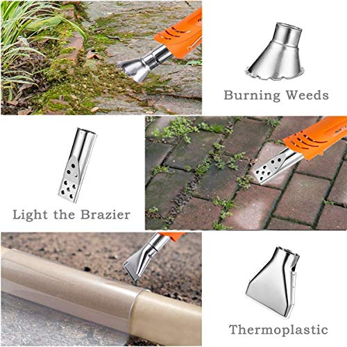 NASUM Electric Thermal Weeder, Weed Burner 1500W Maximum Temperature 650 ° C with 3 Nozzles and 6.5Feet Cord for Garden