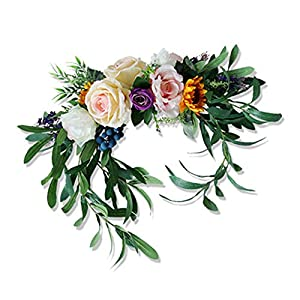 Silk Flower Arrangements GWOKWAI Artificial Flower Swag, Simulation Rose Daisy Peonies Flowers Sunflower Fake Chair Back Floral Decoration for Wedding Background Wall Chair Home Party Decor