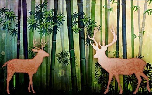 ZXCCX 3d wallpaper formato personalizzato foto wallpaper murale soggiorno bambù foresta alci immagine 3d divano TV sfondo wallpaper per parete, 400x280 cm (157.5 by 110.2 in)