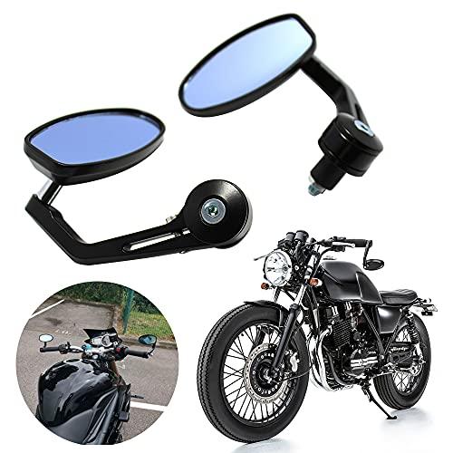 DREAMIZER Universal 7/8' 22mm Motorcycle Bar End Mirrors Oval Rear View Side for Bobber Cafe Racer Street Bike Chopper Cruiser - Black