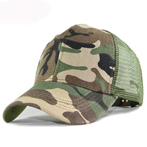 Baseball Cap Women'S Distressed Washed Net Back Baseball Cap Leopard Camouflage Print Hollow Cross Cross Ponytail Braid Lightgreen