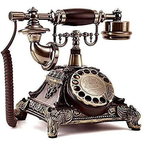 VERDELZ Teléfono Fijo De Línea Fija Teléfono Fijo De Línea Giratoria Teléfono Retro con Función De Rellamada Resina Y Metal De Imitación De Cobre Teléfono Fijo De Casa