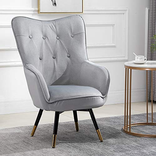 QIHANG-UK Accent Wingback Tub Chair with Cushion, Single Scalloped Fireside Armchair for Living Room Bedroom Office Reception Cafe, Lounge High Back Occasional Chair with Wood Legs, Grey
