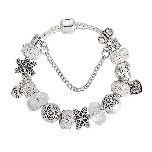 nobrand Strass Perlen DIY Charms Armbänder Armreifen Schneeflocken Armbänder Persönlichkeit Schmuck 19Cm