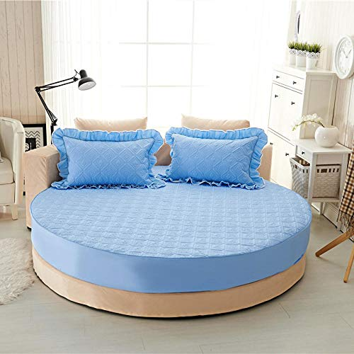 HPPSLT Plain Dye Fitted Bed Sheet Non Iron Super Soft Easy Care Microfiber, Pure cotton round bed sheet quilted-water blue-quilted_2.0m