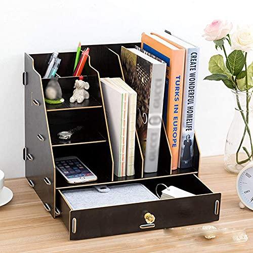 Almacenamiento creativo, caja de almacenamiento de escritorio de madera, escritorio con compartimento multifunción, caja de almacenamiento de escritorio ordenada y resistente, revistero, archivador,