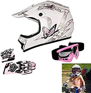 TCT-MT Youth Kids Helmet DOT Helmet+Goggles +Gloves Pink Butterfly ATV Offroad Street Dirt Bike Helmet Motocross Motorcycle Helmet Gloves Goggles (X-Large)
