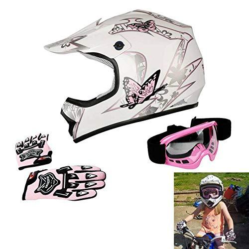 TCT-MT Pink Butterfly DOT Helmet w/Goggles+Gloves Youth Kids Dirt Bike ATV MX Helmet (S)